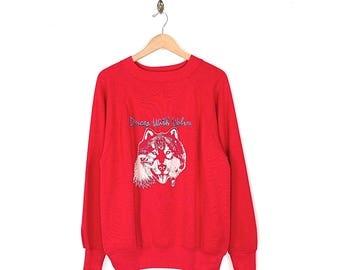 Vintage Dances with Wolves Movie Sweatshirt - 90s Kevin Costner Dances With Wolves Film Sweatshirt - 1990 Dances With Wolves Red Sweatshirt