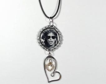 Steven Tyler Necklace w/ Heart In Heart Charms FREE SHIPPING (Black Cord Necklace Included)
