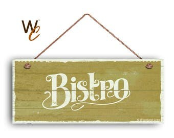 """ON SALE Bistro Sign, French Cafe 6""""x14"""" Sign, Green Rustic Style Kitchen Sign, Housewarming Gift, Dining Sign, Made To Order"""