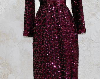 Vintage 70s Burgundy Sequined Lilli Diamond of California Long Sleeved Party Dress