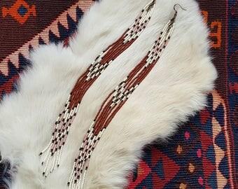 Long Beaded Fringe Earrings - Light Pink & Terracota Seed Bead Earrings - Southwestern Shoulder Dusters - Handmade Bohemian Festival Jewelry