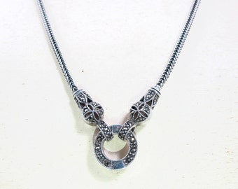 Sterling Marcasite Snake Necklace. Foxtail Chain Double Snake Head Necklace. Art Deco Style Snake Jewelry.