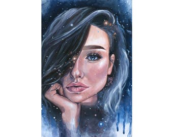 "ORIGINAL PAINTING ""Celestia"" Acrylic Stars Portrait Galaxy"