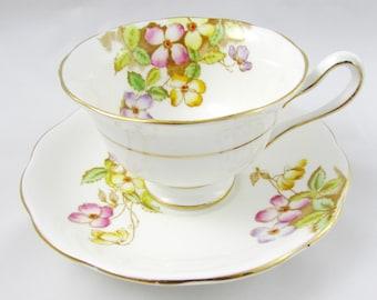 """Royal Albert """"Clematis"""" Tea Cup and Saucer, Vintage Tea Cup and Saucer, Bone China"""