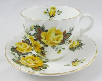 Vintage Tea Cup and Saucer by Stanley, with Large Yellow Roses, Bone China