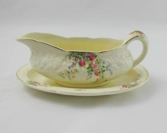 "Crown Ducal ""Rosalie"" Gravy Boat with Under Plate, Vintage Crown Ducal Florentine, Gravy Dish"