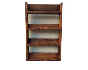 Rustic Spice Rack made from Reclaimed Materials 4 Shelves (various widths) in Dark Oak finish - Open top for taller jars & bottles