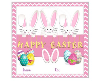 "INSTAND DOWNLOAD-Happy Easter Bunnies & Eggs Printable 2.5"" Tags- Easter D.I.Y 2.5"" tags-Digital file"