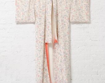 Olympia floral silk Kimono robe l Vintage silk robe
