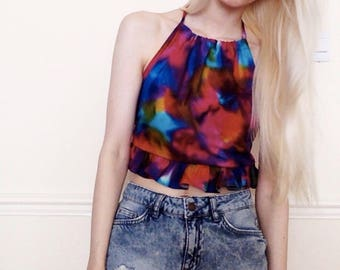 Rainbow frilly festival crop top