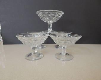Set of 5 Vintage Fostoria American Crystal Clear Pedestal Sherbet Dessert Cups