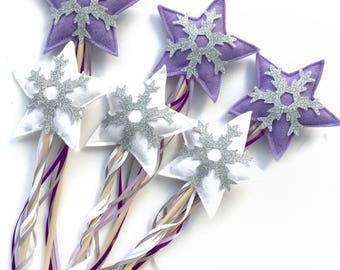 Winter Onderland party favor snowflake wands - 6 pack Purple and White- Winter Onderland favors - Purple Winter Onderland Party