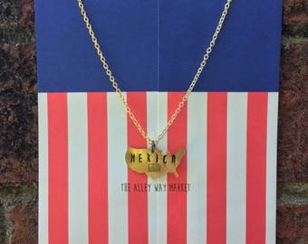 Merica Necklace, 4th of July, Fourth of July, Patriotic Jewelry, Stamped Jewelry, USA Necklace, Merica Jewelry, 4th July, 4th July necklace
