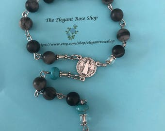 One Decade Rosary in Black and Teal