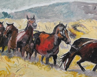 Impressionist oil painting horses signed