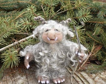 Needle Felted Forest Spirit, Old Man of the Woods, Forest Guardian, Norse Mythology, Wool Doll, Scandinavian Folklore, Bigfoot
