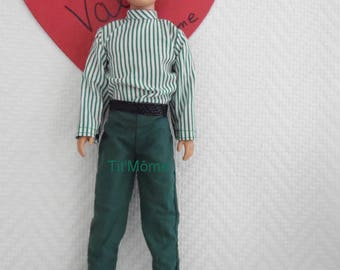 Green pants for Ken with green and white striped shirt