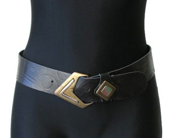 Vintage Black Vegan Leather Belt Metal Buckle Size 70