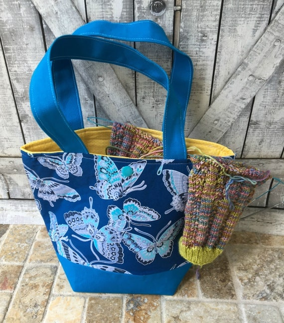 Mini Tote Bag-Blue butterfly Fabric Knitting Bag,Sock Tote Bag,Butterflies Tote Bag,Crochet Project,Knitting Project Bag,Toad Hollow bags