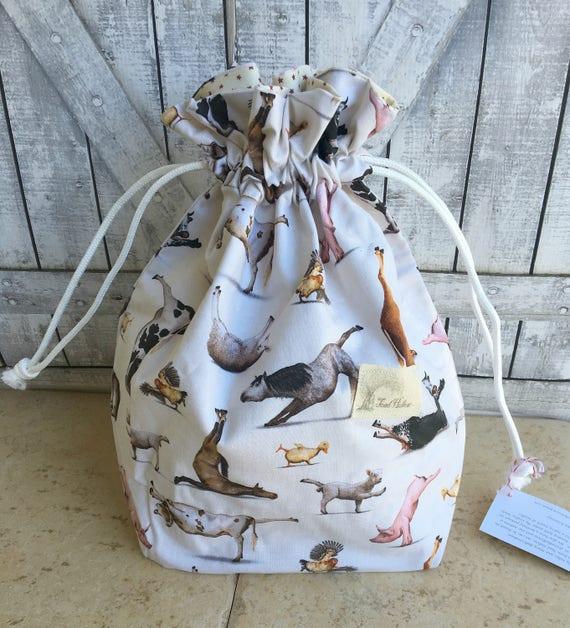 Knitting Project Bag|Farm Animal Yoga Drawstring Project Bag|Crochet Project Bag|Knitting Bag|Crochet Bag|Toad Hollow Bag|Animals Doing Yoga
