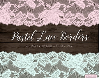 60% OFF SALE. Wedding Clipart Lace. Pastel Lace Border Clip Art. Shabby Chic Bridal Shower, Wedding Clipart. Peach, Mint, Pink Seamless Lace