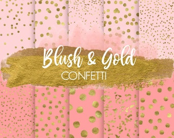 60% OFF SALE. Gold Confetti Digital Paper. Pink & Gold Dot Confetti Background. Blush, Gold Foil Metallic Digital Patterns. Sparkle Confetti