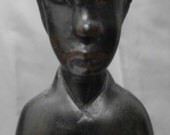 Vintage, hand carved, wooden figure, native, ethnic man, drummer, wood carving