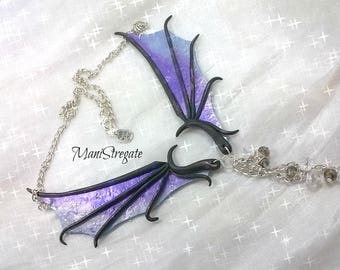 dragon's wings necklace polymer clay handmade necklace with Dragon wings beadworks