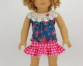 Handmade 18 inch doll clothes - Pink and teal 4 piece summer skirt outfit (838)