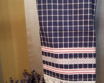 Embellished Hand Towel, Navy and White Check, House Warming Gift, Kitchen Towel, Decorated Hand Towel, One of a Kind, MarjorieMae