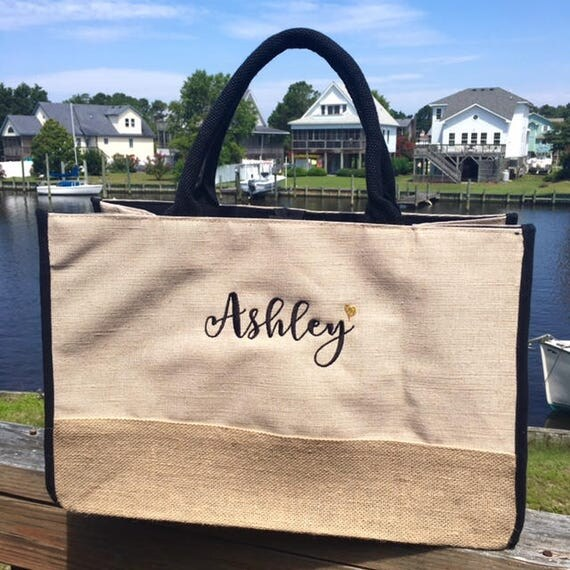 Jute Monogrammed Tote Bag with Black Trim (Perfect for Bridesmaids!)