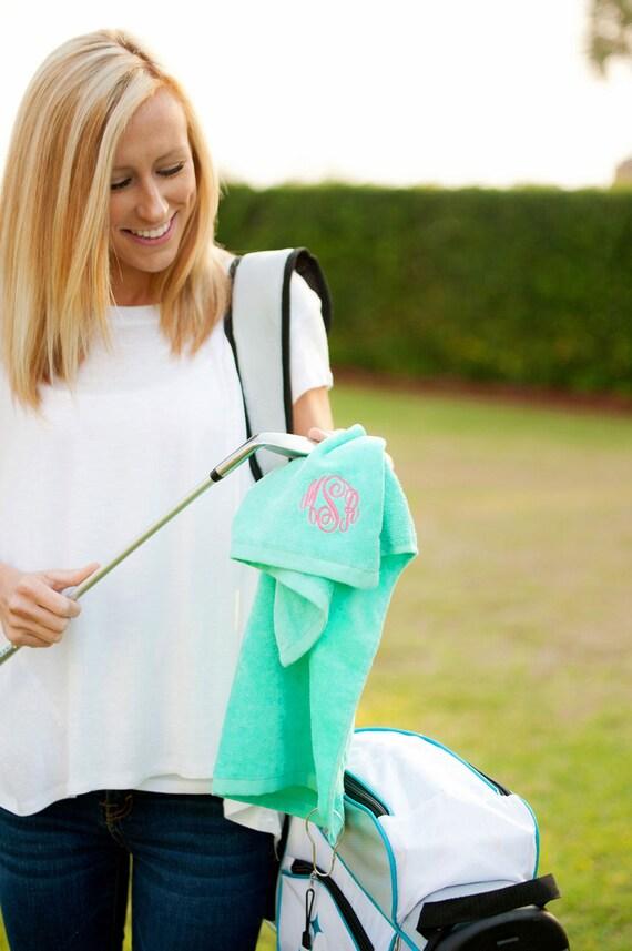 Monogrammed Golf Towel Mint Green Golf Towel Womens Golf Accessories Mint Golf Towel Sporting Goods Golf Supplies Highway12Designs