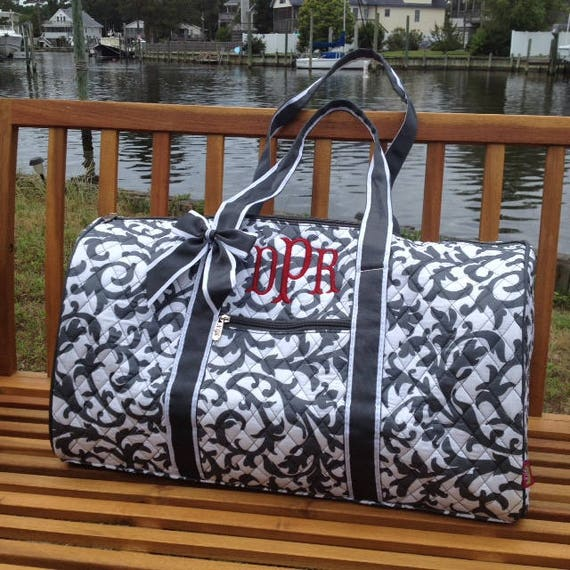 Monogrammed Duffle Bag Grey Damask Duffel Bag Quilted Overnight Bag Monogrammed Gifts Gifts for Girls Gifts for Teens Personalized Gifts