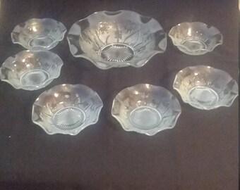 7 Piece Jeannette Glass Iris and Herringbone Salad or Berry Set
