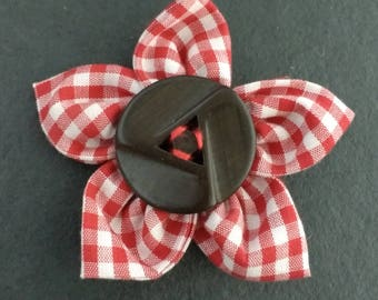 Vintage Button Fabric Flower Brooch