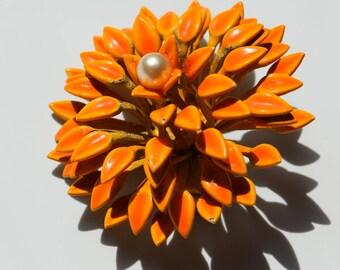 Enameled Flower Vintage Pin