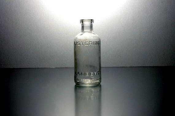 Listerine Bottle, Clear Glass Bottle, Collectible, Small, 3.5 Inches, Embossed, Mouth Wash