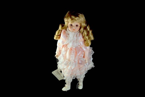 Collectible Porcelain Doll, Heritage Mint, Blonde Doll, 16 inch Doll, Display Doll, Stand Included, Pink Dress, White Lace