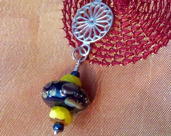 Handmade Sterling Silver and Lampwork Glass Bead Pendant on Cord