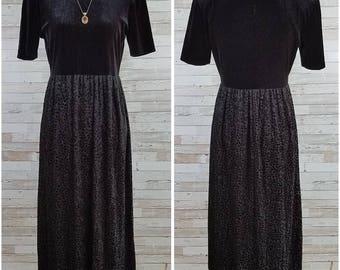 Black velvet short sleeve dress with floral devore skirt - Medium