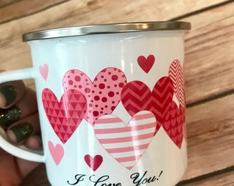 Personalized 10oz Heart Design Camp Mug Candle Great For Valentine's Day