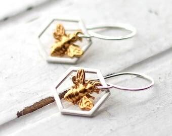 Honeybee Earrings, Honeycomb Dangle Earrings, Yellow Gold Honeybee Charm, Sterling Silver Hexagon, Apiary, Apiarist Gift, Nature Jewelry