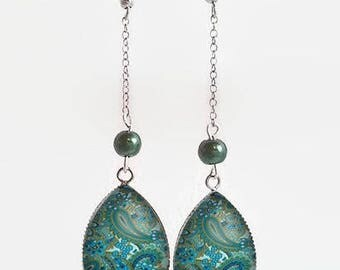 Drop earrings with glass cabochon 18 x 25 mm * geometric * (010118)