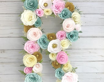 Floral letter, Paper flowers are in mint green and pinks, Baby shower initial, Nursery decor, Paper mache Letter