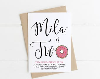 Donut Birthday Invitation, Rise & Shine It's Donut Time, 1st Bday Brunch Pajama Party Invite, Girl 2nd, 4th, Printable Pink Sprinkles