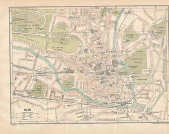 1920 Bath United Kingdom (Great Britain) Antique map