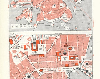 1963 Helsinki Finland Vintage Map
