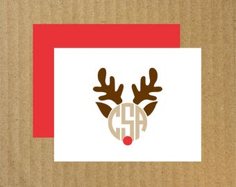 Rudolph Monogram Note Cards, Set of 10, Christmas Thank You Cards, Rudolph Monogram, Rudolph, Reindeer, Christmas Thank You Cards, Monogram