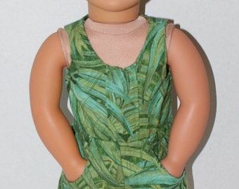 "Green Leafy Romper, Jumpsuit for 18"" Dolls. Made in USA fits American Girl, Our Generation Dolls"