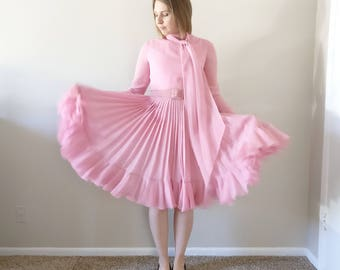 Vintage 1960s Chiffon Pink Pleated Party Dress/60s 70s Dress/Small